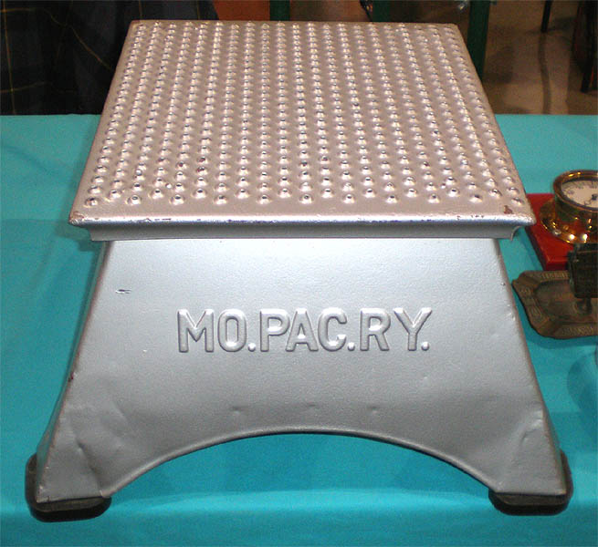 A display of railroad silver; a stepstool from the Missouri Pacific Railway; a passenger representative hat from the Southern Pacific Company; ... : train step stool - islam-shia.org